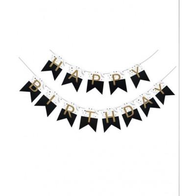 Гирлянда-флажки HAPPY BIRTHDAY 16см, черно-белая 871060 арт.:871060