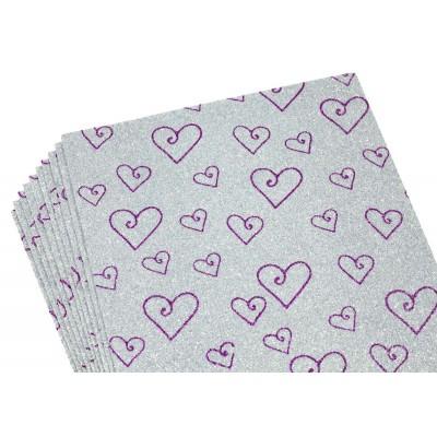 Фоамиран 2мм с глитером,  принт сердечки  фиолет  с серебром, 10516 арт.:10516