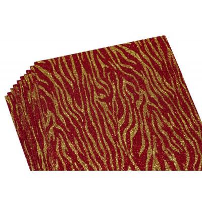 Фоамиран 2мм с глитером, принт сердечки  золото с красным, 10512 арт.:10512