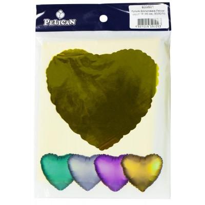 Шарик фольгированный PELICAN сердце 18 '(45см) Золото (5шт) арт.:833601