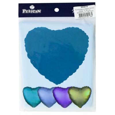 Шарик фольгированный PELICAN сердце 18 '(45см) Голубой светлый (5шт) арт.:833616