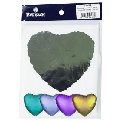 Шарик фольгированный PELICAN сердце 18 '(45см) Серебро (5ш арт.:833602