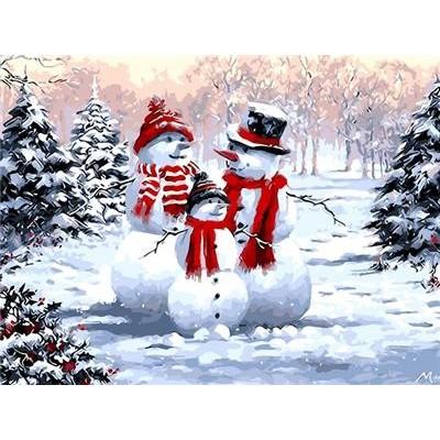 Картина по номерам 'Снеговики' 40*50см,крас.-акрил,кисть-3шт. арт.:9504