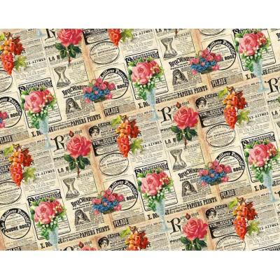 Офсетная бумага - вырезки с газет и розы PVO10-4 арт.:PVO10-4