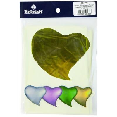 Шарик фольгированный PELICAN сердце согнутое 18 '(45см) ЗОЛОТО (5шт) арт.:833501