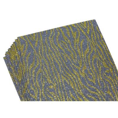 Фоамиран 2мм с глитером, принт сердечки  золото с серым, 10514 арт.:10514