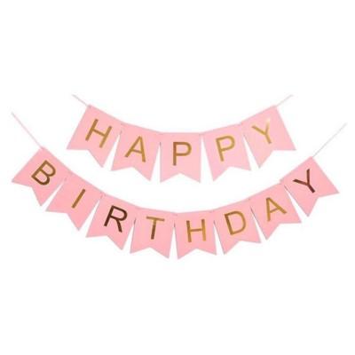 Гирлянда-флажки HAPPY BIRTHDAY 16см, светло-розовый 871053 арт.:871053