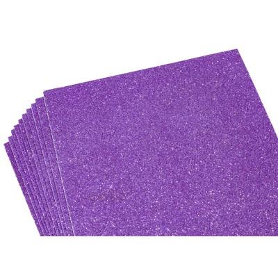Фоамиран 1,8мм фиолетовый   с глитером-10листов- самоклейка, 8678 арт.:8678