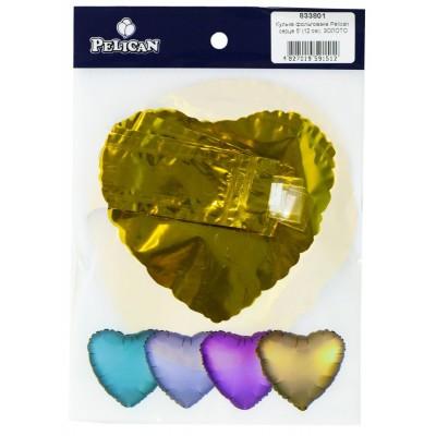 Шарик фольгированный PELICAN сердце 5' (12см)  Золото (5шт) арт.:833801