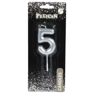 Свеча для торта Pelican, '5' серебро 4,5см арт.:864525