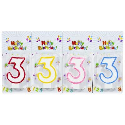 Свеча для торта 'Цифры '3', 7,5х4,0см, 5151-3 арт.:5151-3
