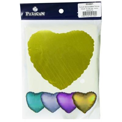 Шарик фольгированный PELICAN сердце 18 '(45см) сатин золото (5шт) арт.:833631