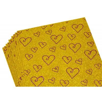 Фоамиран 2мм с глитером, принт сердечки  фиолетовый с золотом, 10515 арт.:10515