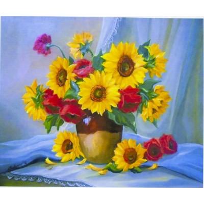 Картина по номерам 'Подсолнухи в вазе' 40*50см,крас.-акрил,кисть-3шт.( арт.:5135