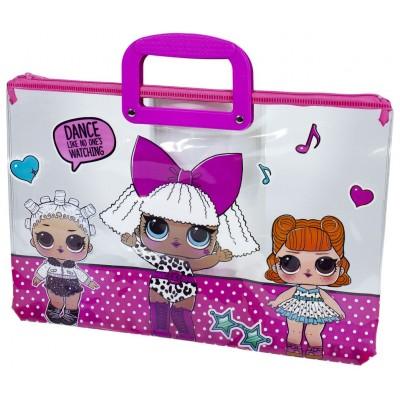 Папка портфель прозрачная 'Кукла' 28х39см, 30 мик, 33-L арт.:33-L