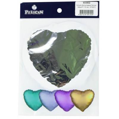 Шарик фольгированный PELICAN сердце 5' (12см)  Серебро (5шт) арт.:833802