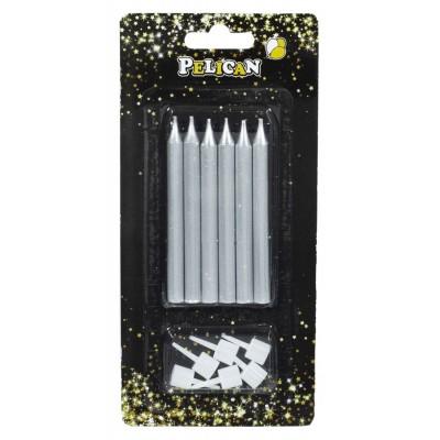 Набор свечей для торта 'карандаш 8 см', СЕРЕБРО 6шт / уп арт.:868112