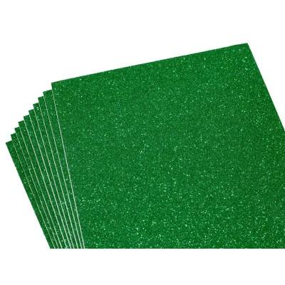 Фоамиран 1,8мм темно-зеленый с глитером -10листов- самоклейка, 8675 арт.:8675