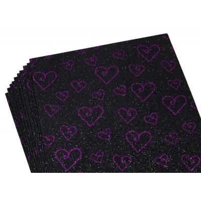 Фоамиран 2мм с глитером, принт сердечки  фиолетовый с черным, 10518 арт.:10518