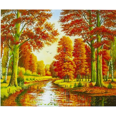 Картина по номерам 'Осень' 40*50см,крас.-акрил,кисть-3шт. арт.:6413_B