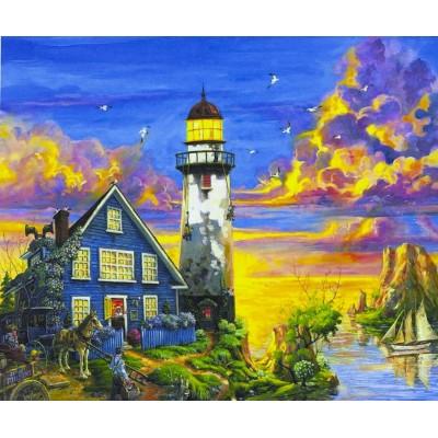Картина по номерам на дереве 'Маяк' 40*50см,крас.,кисти арт.:3475-D