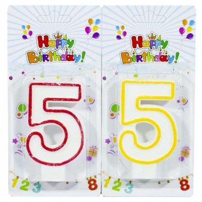 Свеча для торта 'Цифры '5', 7,5х4,0см, 5151-5 арт.:5151-5